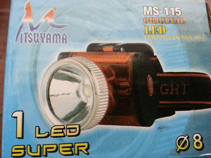 SENTER Murah KEPALA 1 LED Super Mitsuyama MS-115 Batu Baterai
