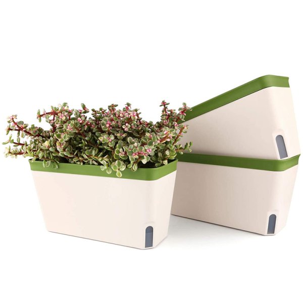 Self Watering Planter Pot Rectangle 10.5 Inch Set of 3, Plastic Plant Pot with Visual Water Level Window