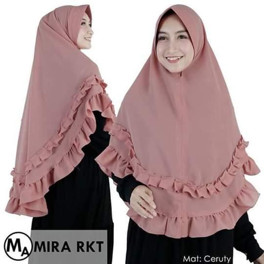 Hijab Khimar Syari Jilbab Khimar Syari Kerudung Khimar Syari Instan Panjang Terbaru bahan Ceruty Dua Layer Rampel_AF