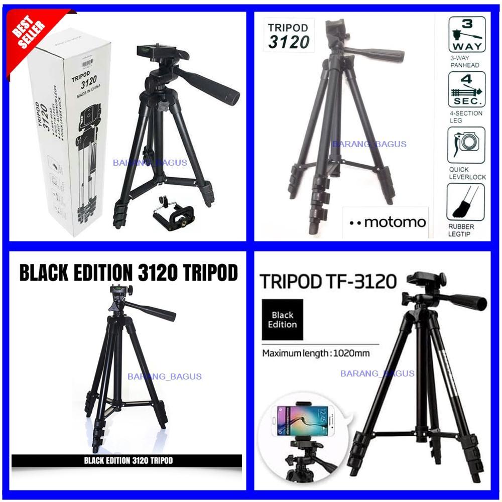 Universal Tripod 3120 Black Edition / Tripod Untuk HP Dan Kamera Tinggi 1 Meter Free Holder U  barang_bagus