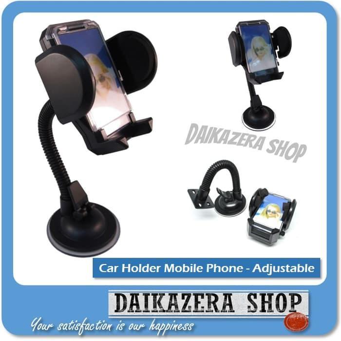 Car Holder for Mobile Phone - Tripod-4 - Black - Hitam
