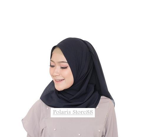 POLARIS - Hijab Polos Pashmina Diamond Crepe / Sabyan Ukuran 200cm x 75cm / Jilbab Premium / Kerudung / Scarf Wanita / Busana Muslim / Aksesoris Hijab