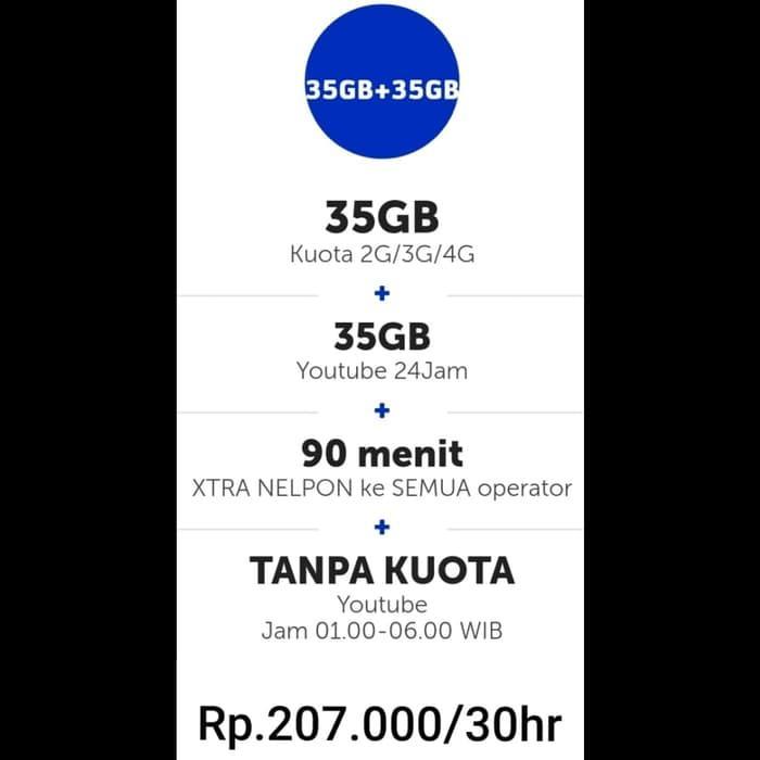KUOTA XL / PAKET DATA XL XTRA COMBO 35Gb + 35Gb Youtube