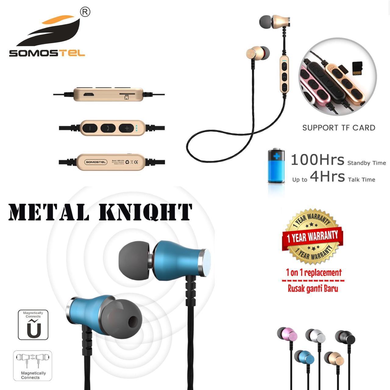 Somostel wireless earphone / headset bluetooth metal knigth , sms-ck01, garansi resmi 1