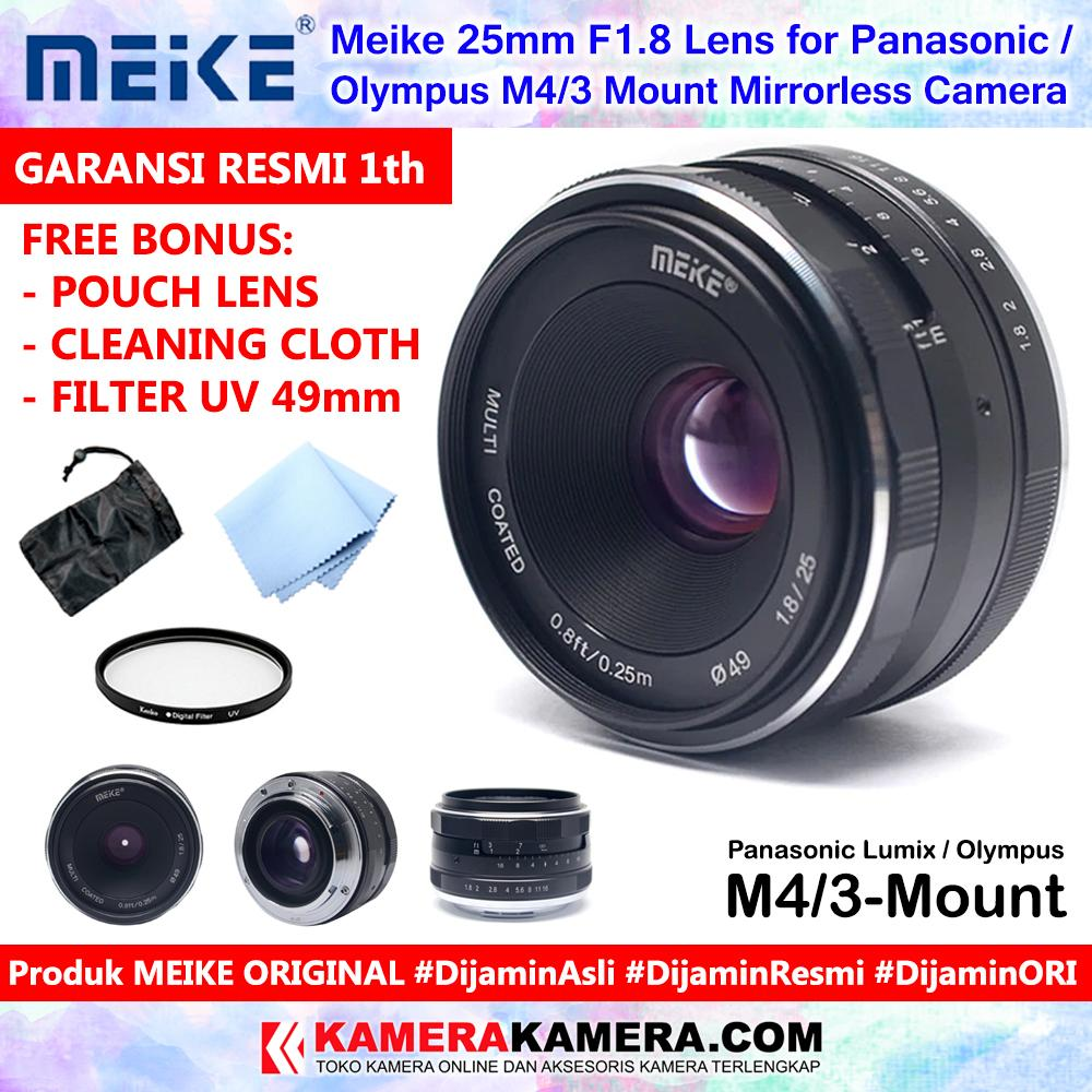 Meike 25mm F1.8 Lens For Panasonic Lumix / Olympus M4/3 Mount Mirrorless Camera Original Include Pouch + Cleaning Cloth + Filter Uv 49mm - Garansi Resmi 1th For Olympus Panasonic Lumix Micro 4/3 Camera By Kamerakamera.