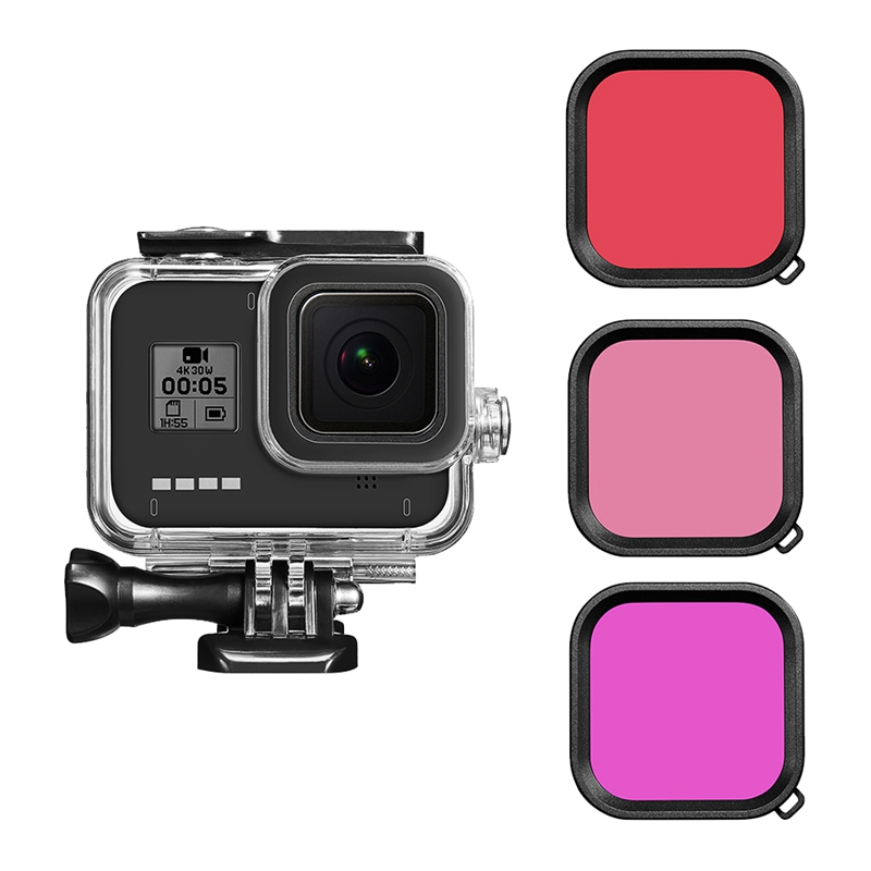 Giá Waterproof Housing Protective Case for GoPro Hero 8 Black Camera Underwater Diving Full Cover Case with Lens Filter Adapter Base