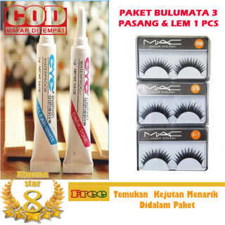 bulu mata palsu dan lem 1 set - bulu mata palsu natural 3 Pcs & Lem Bulu Mata 1 Pcs - Bulu Mata Palsu thumbnail