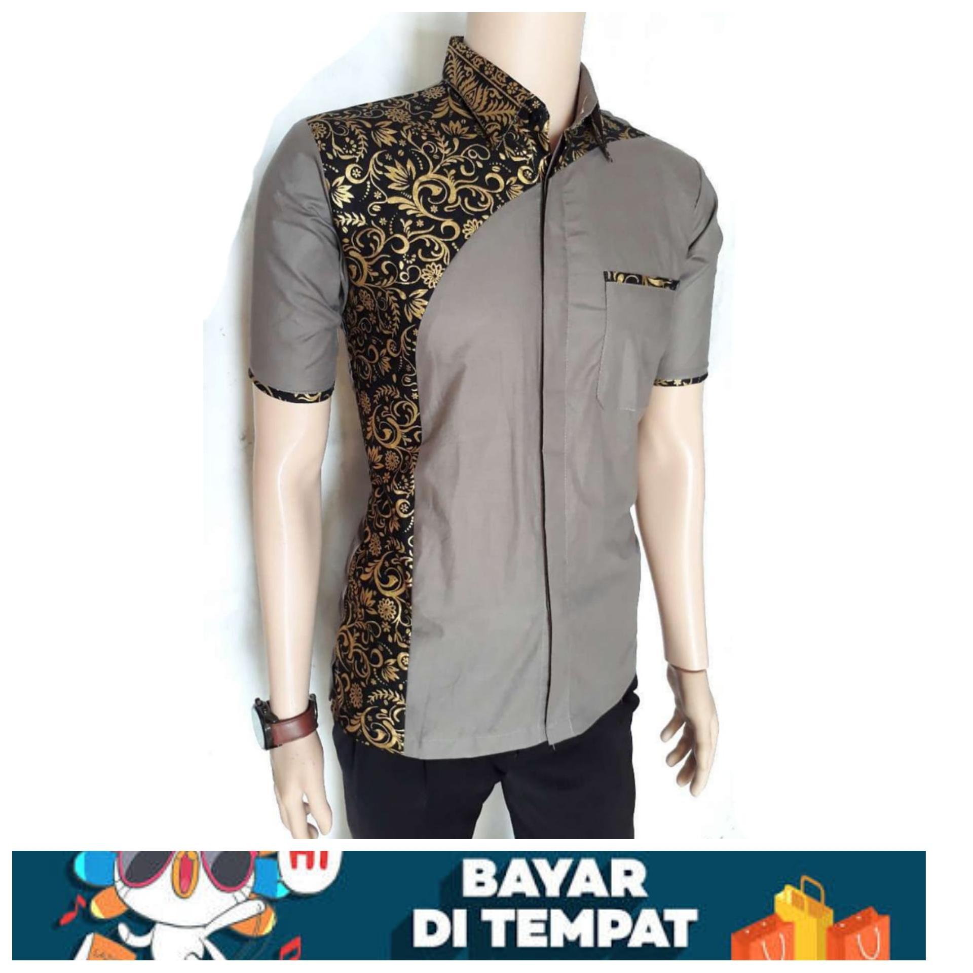 BATIK PRIA-BATIK PEKALONGAN- Kemeja Batik Eksklusif Baju Batik Modern  Kombinasi (Abu- b0d57f811e