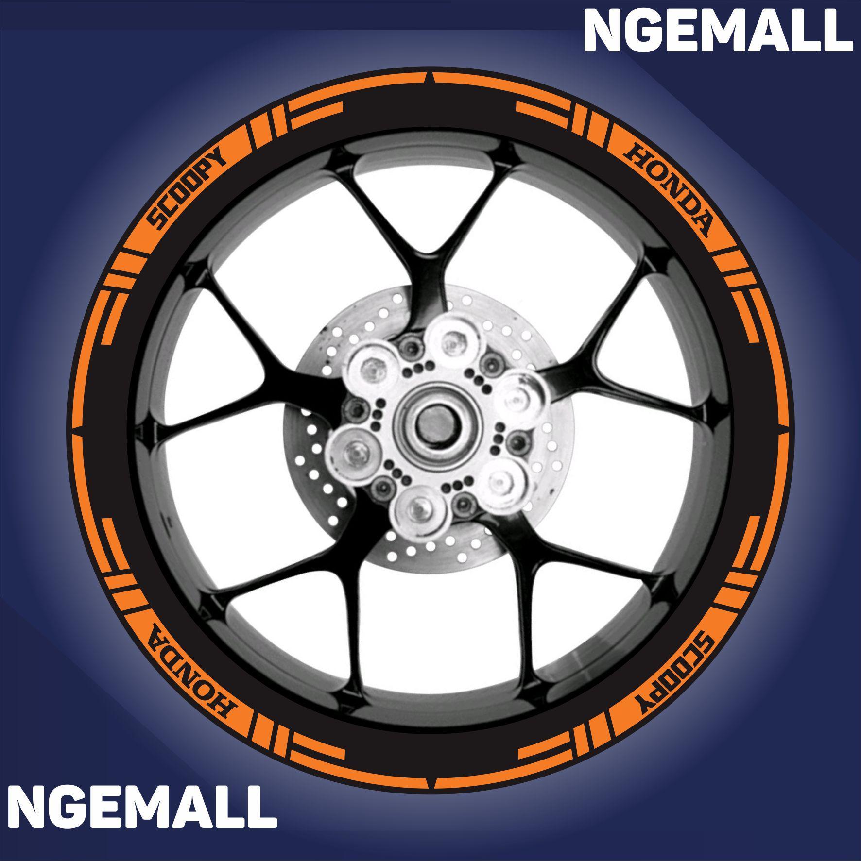 Ngemall - Aksesoris Motor Stiker Cutting 3 Velg Honda Scoopy - Orange - Ngemall