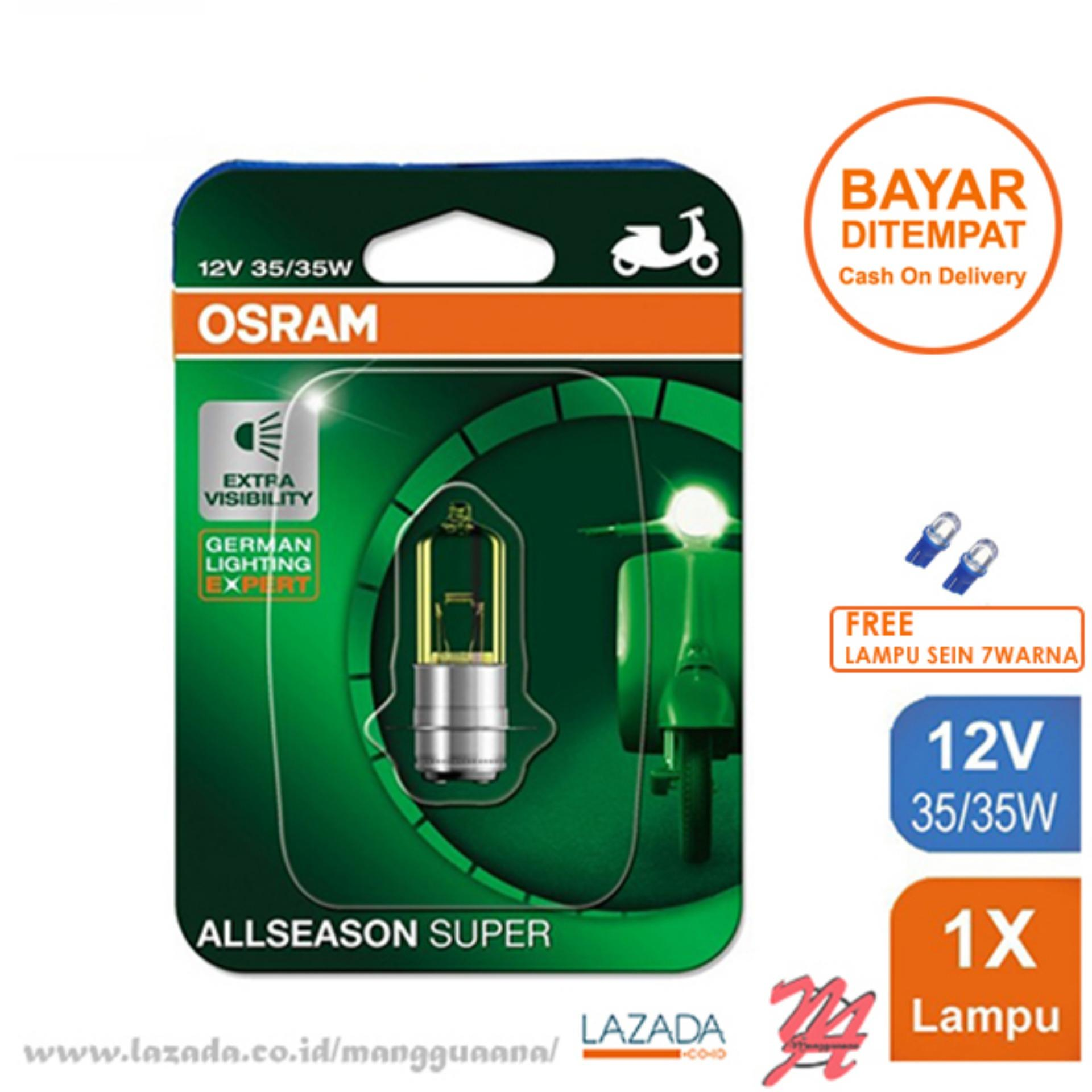 Osram Lampu Depan Motor Yamaha Mio M3 125 2014-on - 62337ALS - All Season Super + Free Lampu Sein LED 7 Warna