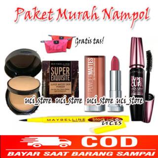 Paket Kosmetik Maybelline Paket Makeup Komplit Maybelline 5 in 1 - Maskara tahan air - Eyeliner - Bedak -foundation - Lipstik matte + Gratis Tas Kosmetik Pouch thumbnail