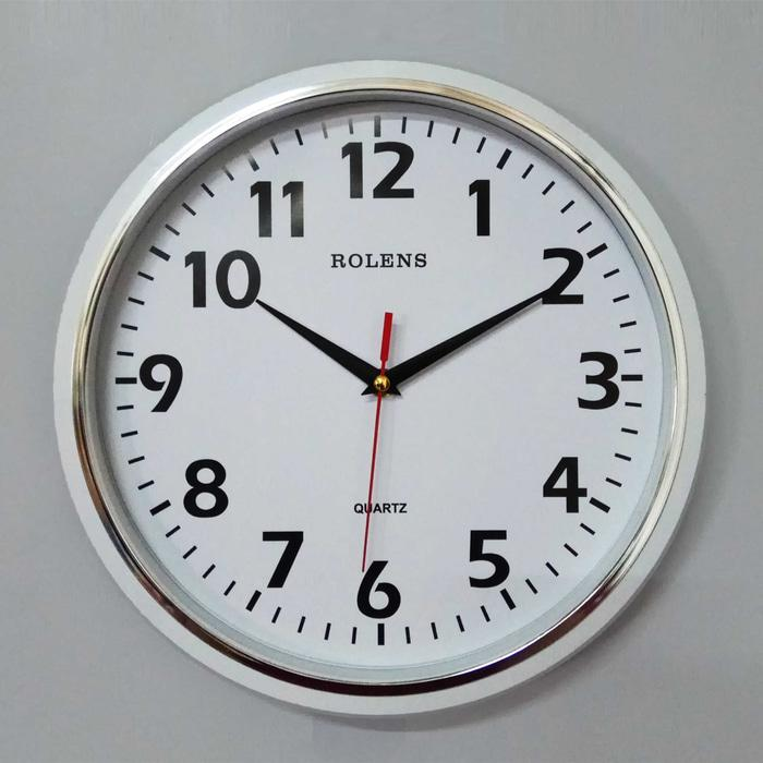 PROMO TERMURAH  Jam Dinding Murah Diameter 30 cm Lis Kecil Silver+Putih ( be1301907d