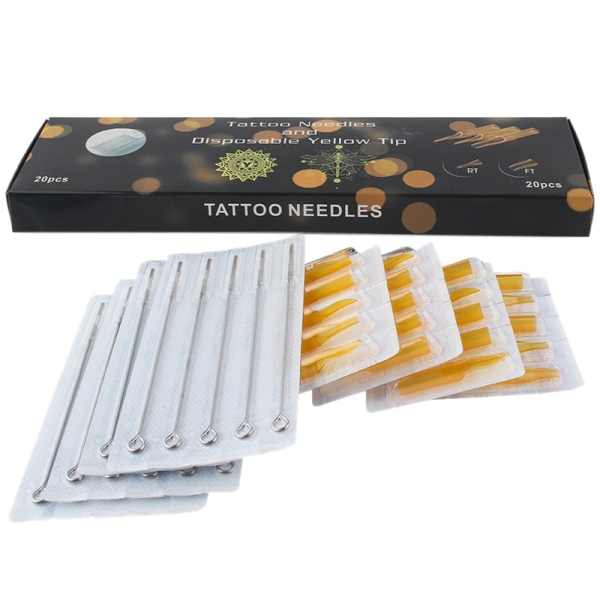 20Pcs Stainless Steel Tattoo Needles Set With 20Pcs Disposable Tattoo Tips Tubes Set Sterile Nozzle Semi-Permanent Rl/Rt