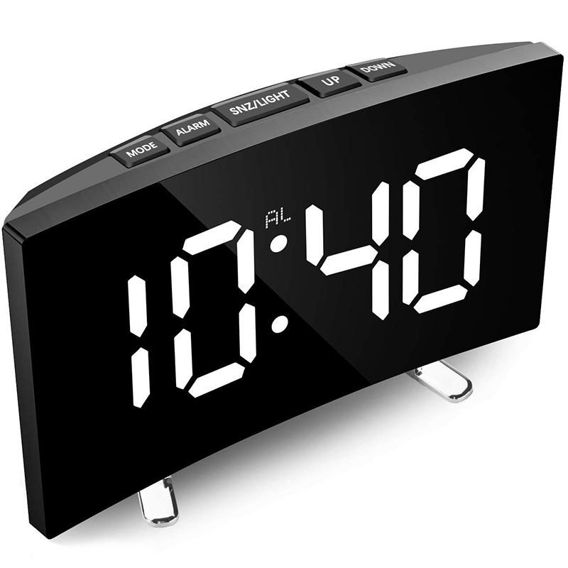 Đồng hồ báo thức kỹ thuật số Màn hình LED có thể điều chỉnh độ sáng cong 7 inch Đồng hồ kỹ thuật số cho phòng ngủ trẻ em Đồng hồ số lớn màu trắng Chức năng báo lại Đồng hồ để bàn hiển thị LED 12/24 giờ Cổng USB