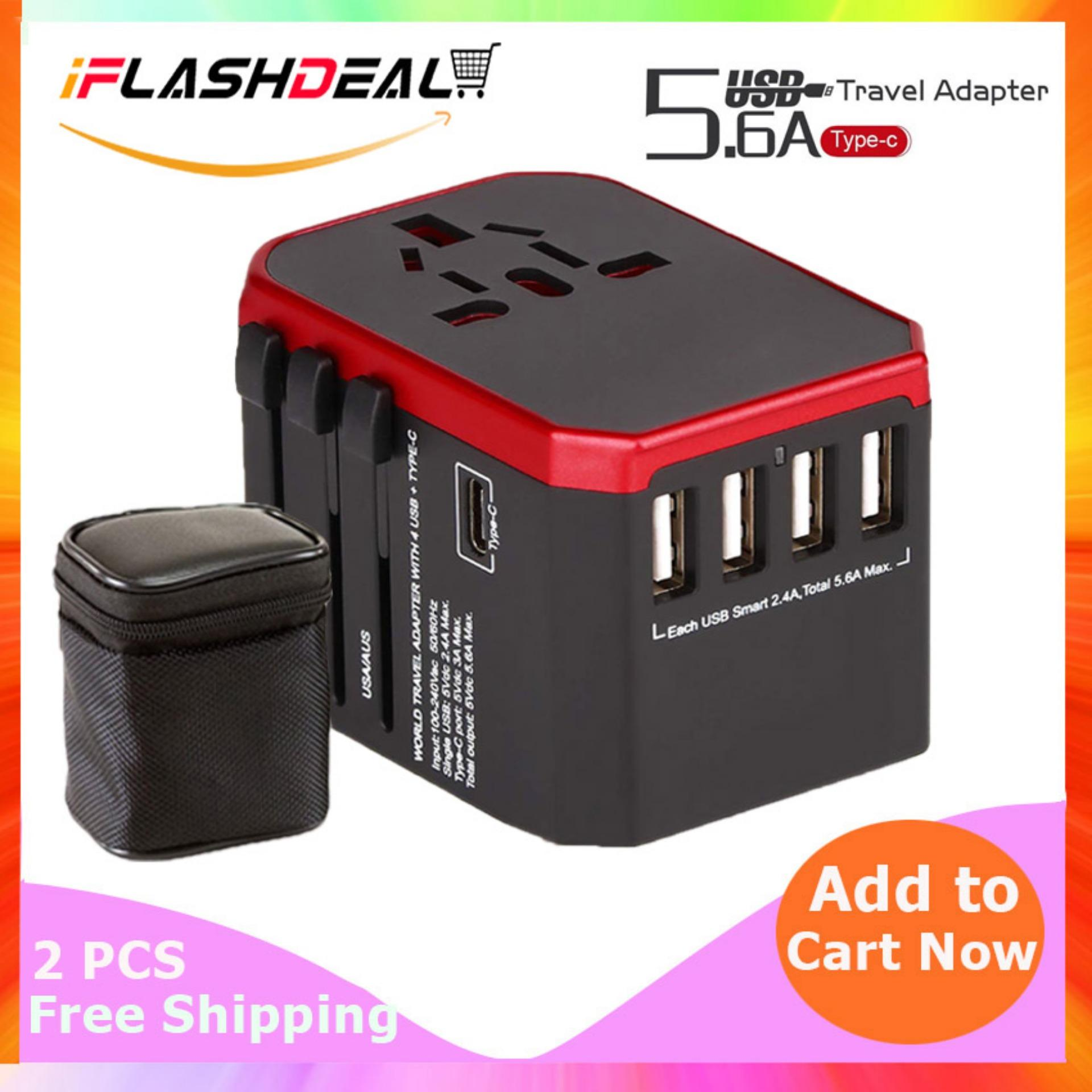 Iflashdeal Ultimate Universal Travel Adapter All In One International Worldwide Wall Power Travel Adaptor With 4 Usb Port + 1 Type-C Port Fast Wall Charger Plug (black) By Iflashdeal.