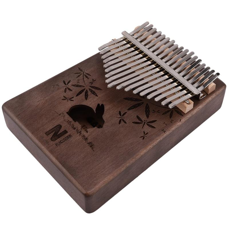 17 Keys Kalimba Rabbit Thumb Piano Mahogany Wood Finger Piano Musical Instrument with Tuner Hammer Storage Box Malaysia
