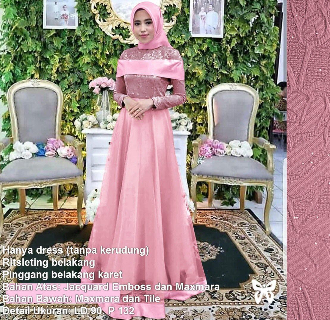 Maxi Dress Lengan Panjang Tile MSR302 / Gamis Syari / Gaun Pesta Muslimah / Baju Muslim