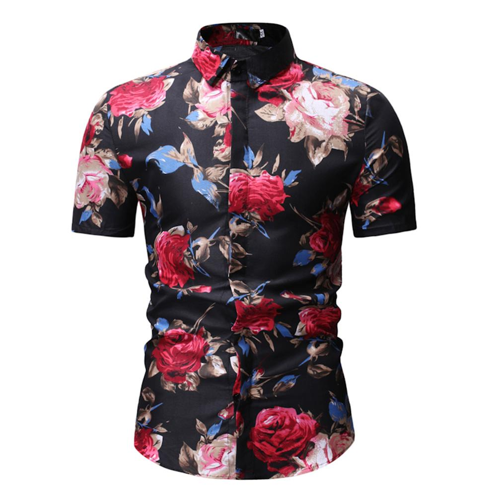 04915429 Veecome Men Floral Shirts Summer Casual Short Sleeve Shirt Flower Print Tops  M-3XL