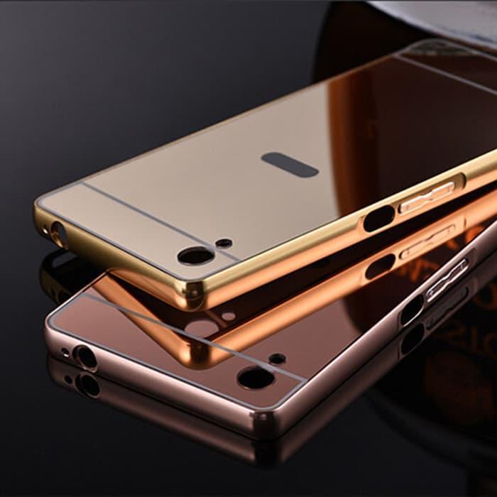 Alumunium Bumper Mirror Armor Cover Case Casing Sony Xperia Z4 Dual