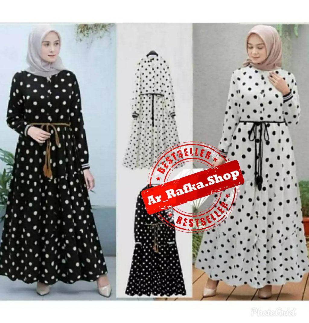 Gamis polkadot/ Long Dress/ Gamis XL / Long Dress Wanita / Gaun Long Dress  Muslim / Ar_arafka.shop / Dress Pesta Wanita / Baju Wanita / Baju Gamis