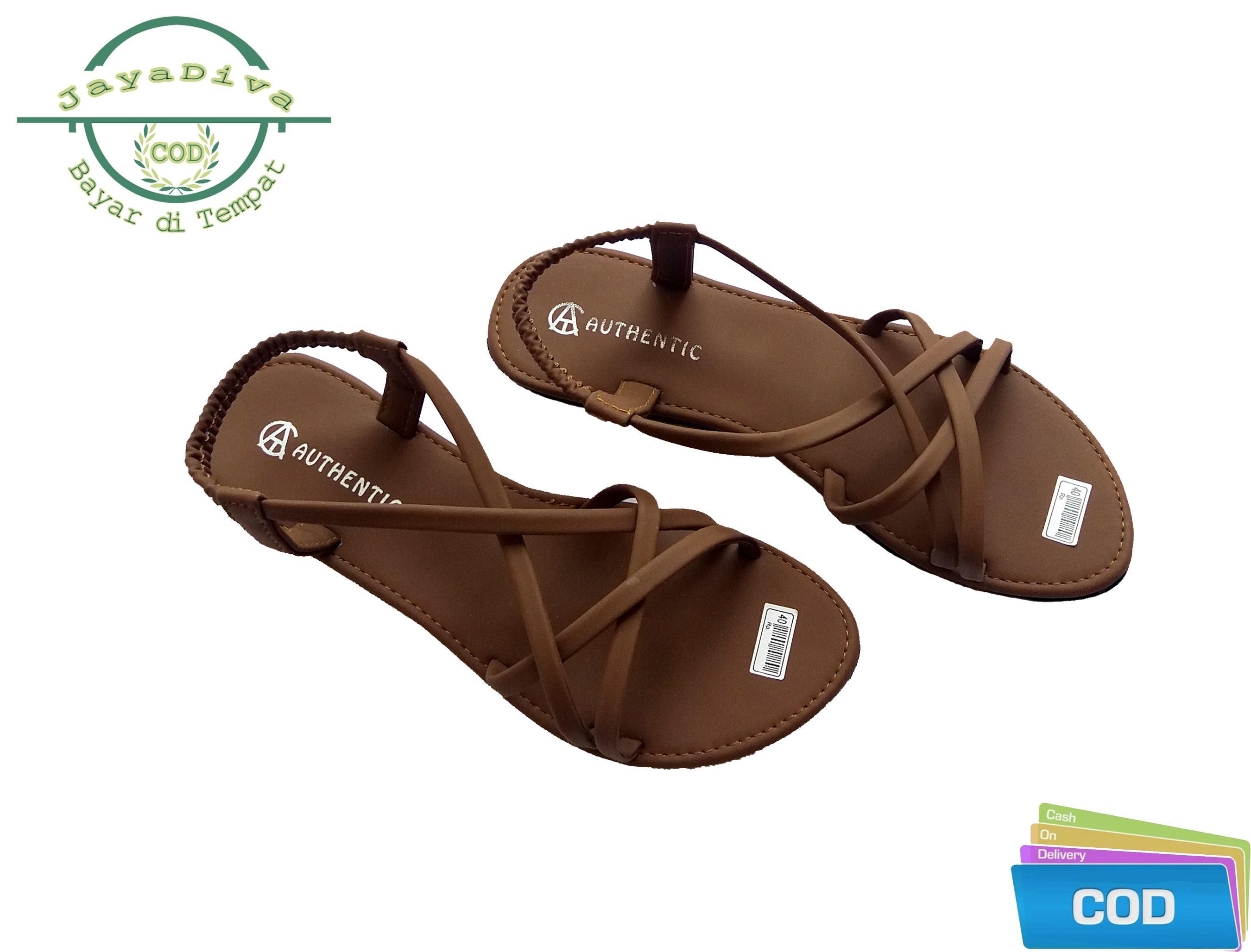 Sandal Teplek / Slip-On Model Terbaru Dengan Gaya Modis dan Trendy Untuk Wanita / Sandal Teplek Tali Silang Wanita - Varian Warna Moca / jayadiva