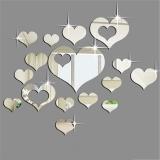 Review Pada Fashion 16 Pcs Silver Cermin Hati Dekorasi Diy Plastik 3D Wall Stiker