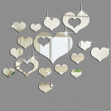 Beli Fashion 16 Pcs Silver Cermin Hati Dekorasi Diy Plastik 3D Wall Stiker Pake Kartu Kredit