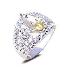 Beli Fashion 18 K Emas Putih Disepuh Kuning Crystal Women Stylish Rhinestone Ring Not Specified