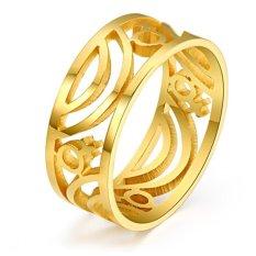 Fashion Hollow Ring Jewelry Gold & Silver Plated Stainless Steel Pernikahan Cincin untuk Wanita