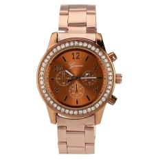 Jual Fashion Gadis Wanita Perempuan Unisex Stainless Steel Analog Quartz Wrist Watch Emas Tiongkok Murah