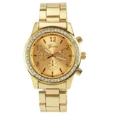 Harga Fashion Gadis Wanita Perempuan Unisex Stainless Steel Analog Quartz Wrist Watch Emas Merk Oem