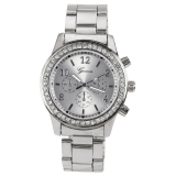 Review Fashion Gadis Wanita Perempuan Unisex Stainless Steel Analog Quartz Wrist Watch Silver Tiongkok