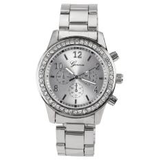 Jual Cepat Fashion Gadis Wanita Perempuan Unisex Stainless Steel Analog Quartz Wrist Watch Silver