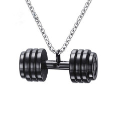 Harga Fashion Lovely Dumbbell Pendant Necklace Boxing Jewelry Stainless Steel Necklace For Men Boys Gift Online