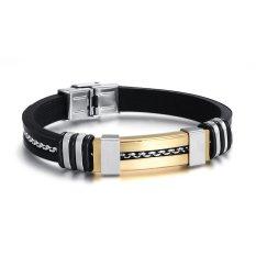 Promo Fashion Men Bracelet Grosir 18 K Gold Plated Charm Dan Black Silicone Olahraga Gelang Gelang Untuk Pria Perhiasan