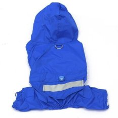 Mode Hewan Peliharaan Anjing Jaket Mantel Hujan Pakaian Puppy Jas Hujan Baju Tahan Air untuk 5 Warna (Biru XL)