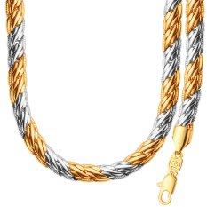 Fashion Sederhana Unik Design18K Berlapis Emas Platinum Tow Warna Kalung Gelang Set untuk Wanita/Pria Hadiah NB60089-Intl