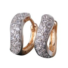 Fashion Desain Unik Emas Anting Platinum dengan Putih Batu Kristal untuk Wanita Cincin Anting Fashion Perhiasan