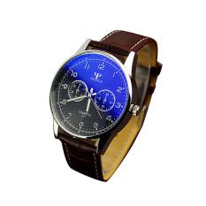 Spesifikasi Fashion Unisex Stainless Steel Sport Quartz Watch Men Analog Leather Wrist Watch Black Dial Coklat Band Oem
