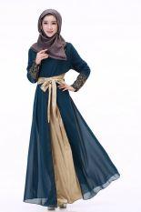 Fashion Wanita Nyaman Muslimah Jubah Muslimah Gaun Lengan Panjang Gaun Sifon Gaun Jahitan Jubah (Hijau)