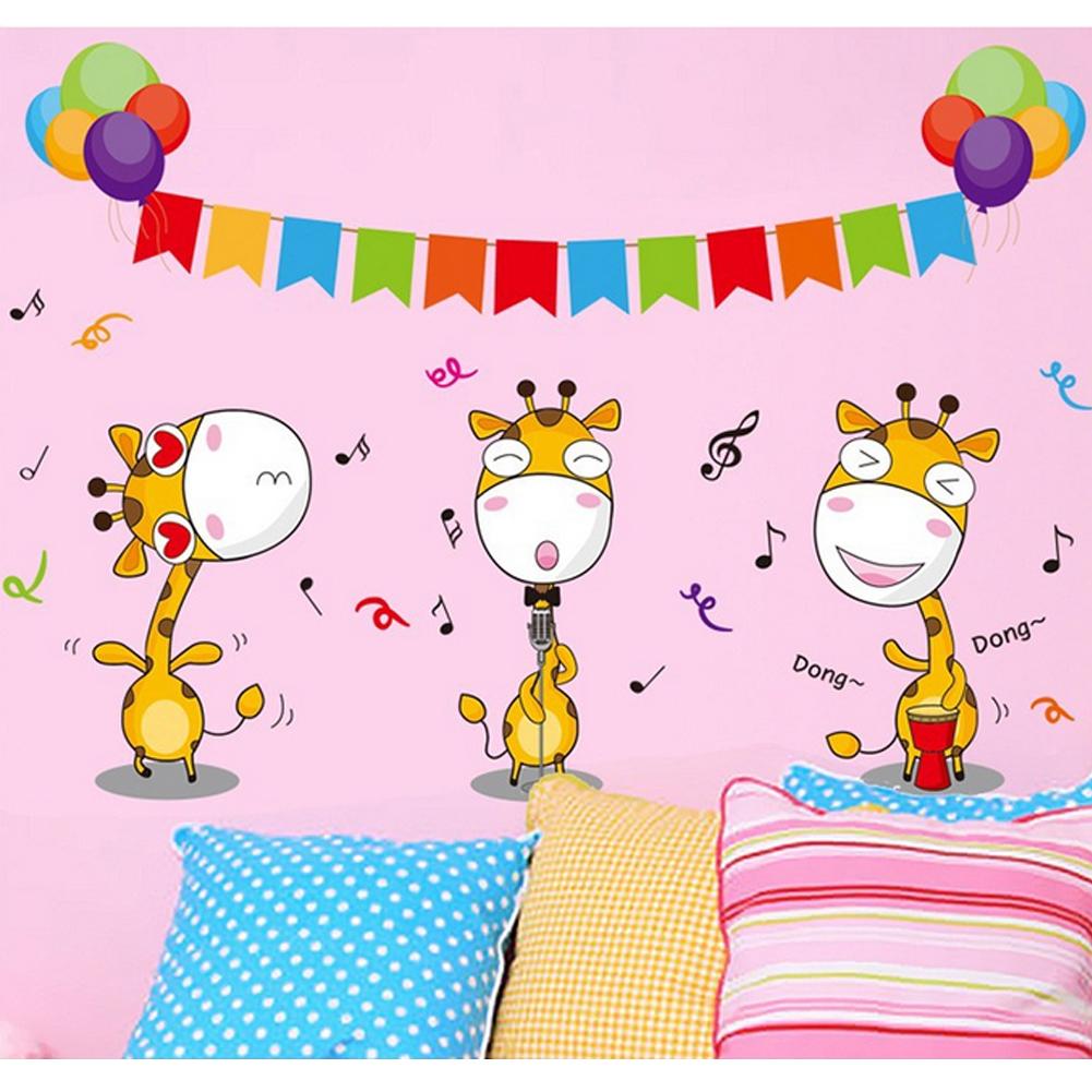 Fawns Jerapah Balon Music Notes Wall Decal Home Sticker PVC Mural Vinyl Kertas Rumah Dekorasi Wallpaper Ruang Tamu Kamar Tidur Dapur Gambar Seni DIY untuk Anak Remaja Remaja Dewasa Pembibitan Bayi-Intl