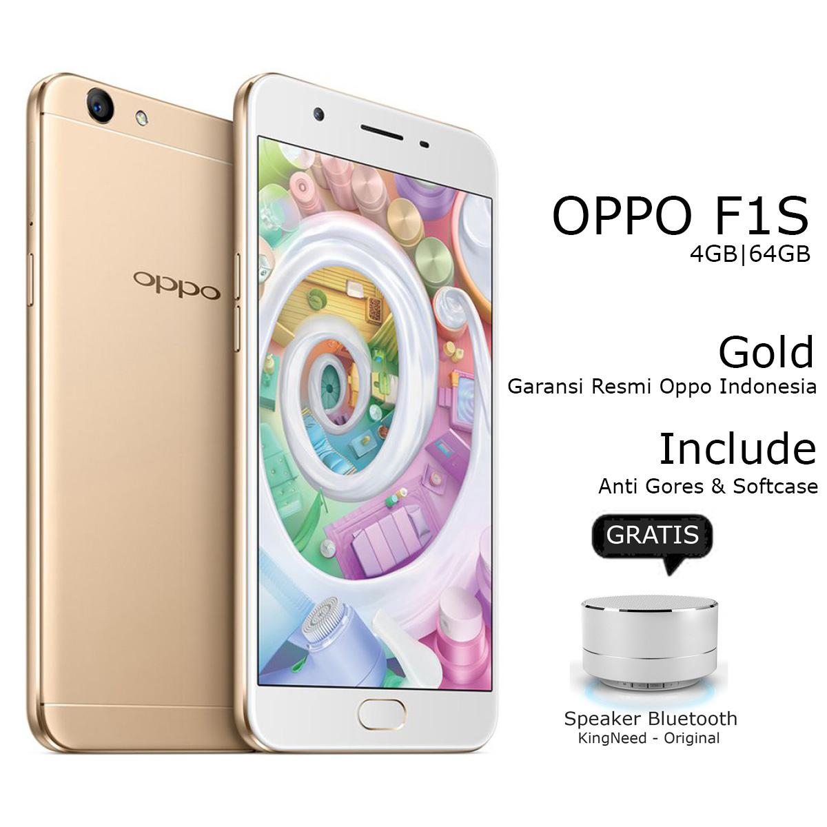 Oppo F1s Selfie Expert - New Edition - Ram 4GB - 64GB - Fingerprint - Jaringan 4G - Gold