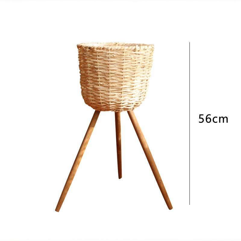 Find Point Wood Floor Flower Stand Bunk Bed Flowerpot Shelf Straw Baskets Ground Decoration Living Room Terrace/Patio Simple Garden