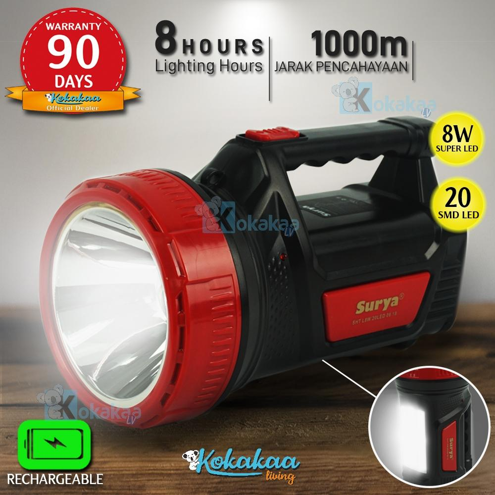 Surya Lampu Emergency + Senter Led 2 In 1 Bigsize Sht L8w + 20 Led Smd White Senter Led Super Terang Rechargeable 1000 Meter 8 Hours By Kokakaa Living.