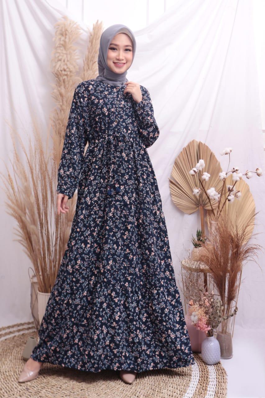 Baju Gamis Ayla Motif Bunga Kecil Gamis Busui Gamis Murah Gamis Masa Kini Gamis Premium Lazada Indonesia