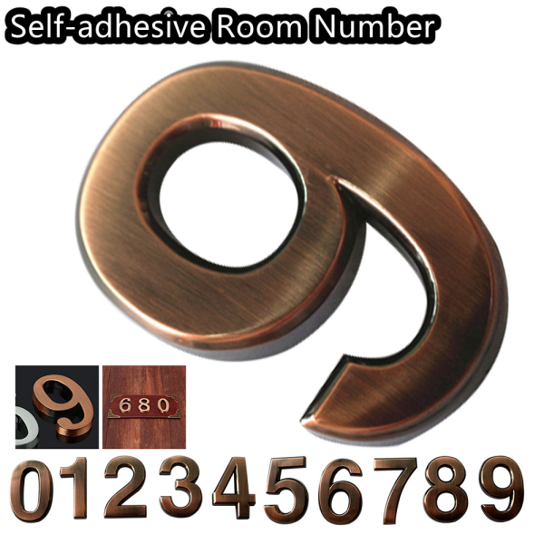 LANZEONT 1 PC 3D Bronze ABS Plastic Numeral Address Sign Room Number Digits Sticker Door Plates