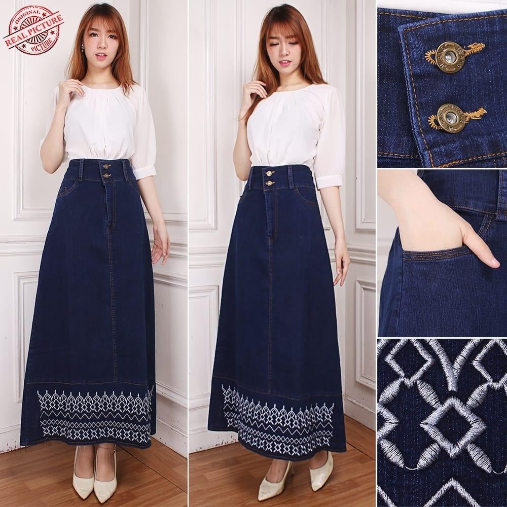 Cj Collection Rok maxi jeans panjang wanita jumbo long skirt Vina
