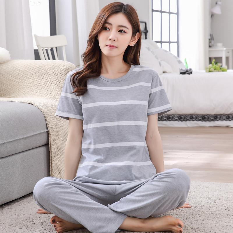 Summer Trousers Short Sleeve women Pure Cotton Pajamas Cartoon Cute Loose  And Plus-sized Set ff2ce31fe