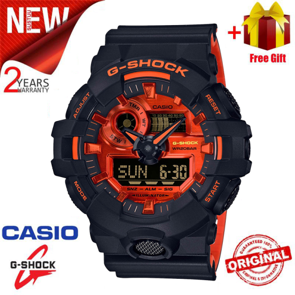 Original G Shock GA700 Men Sport Watch Dual Time Display 200M Water Resistant Shockproof and Waterproof World Time LED Auto Light Sports Wrist Watches with 2 Year Warranty GA-700BR-1A Malaysia