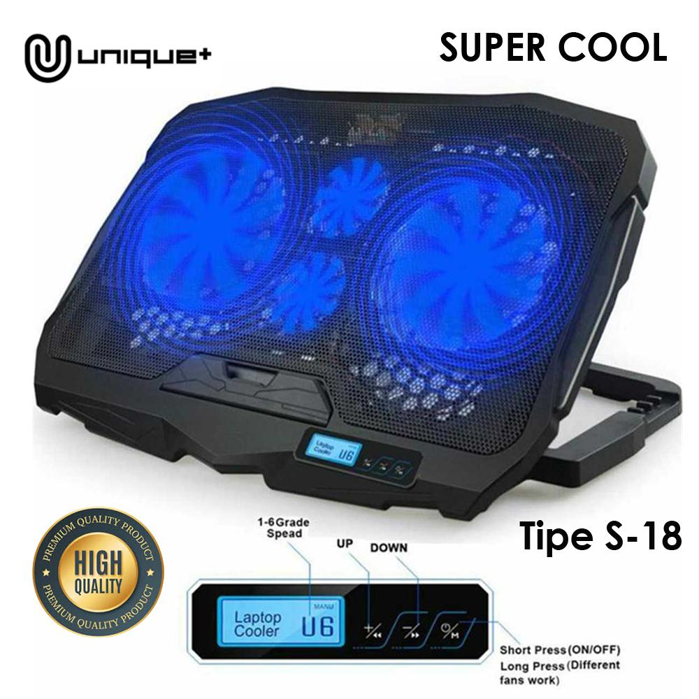 Unique Cooling Pad Coolingpad Cooler Laptop 4 Fan Blue LED Lamp LCD Display Control Speed Fan Strong Wind Speed Gaming For 12-17 inch Laptop